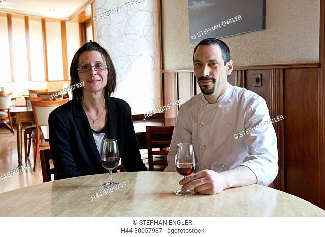 Portrait Laurent Furtig and Estelle Frutig, Switzerland, Vaud, Epesses, UNESCO, Auberge du Vigneron