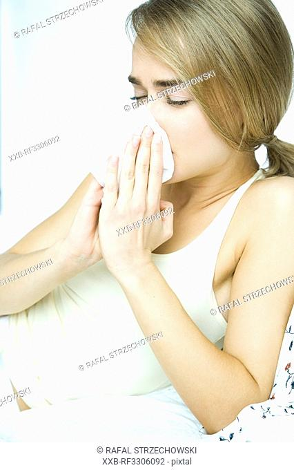 young woman with fever