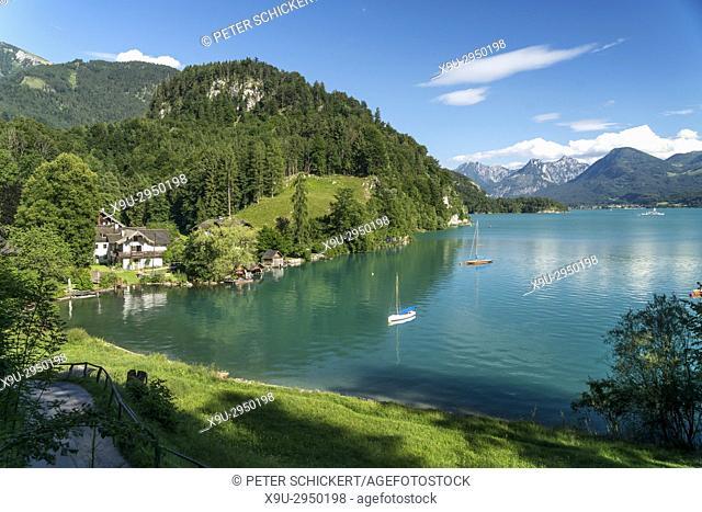 lake shore near St. Gilgen at lake Wolfgangsee, Salzkammergut region, Austria
