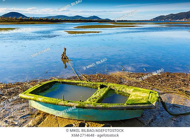 Boat in Santoña, Victoria and Joyel Marshes Natural Park. Colindres, Cantabria, Spain