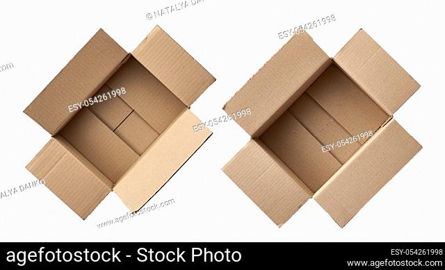open empty brown square cardboard box for transporting goods isolated on white background