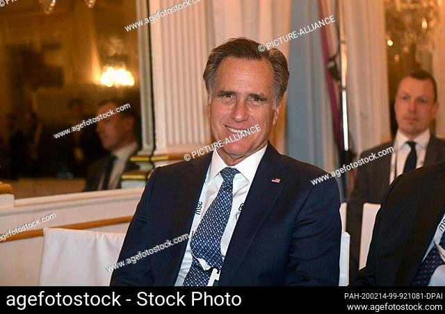 14 February 2020, Bavaria, Munich: Mitt Romney, US Senator, waits for an event to begin on the first day of the 56th Munich Security Conference