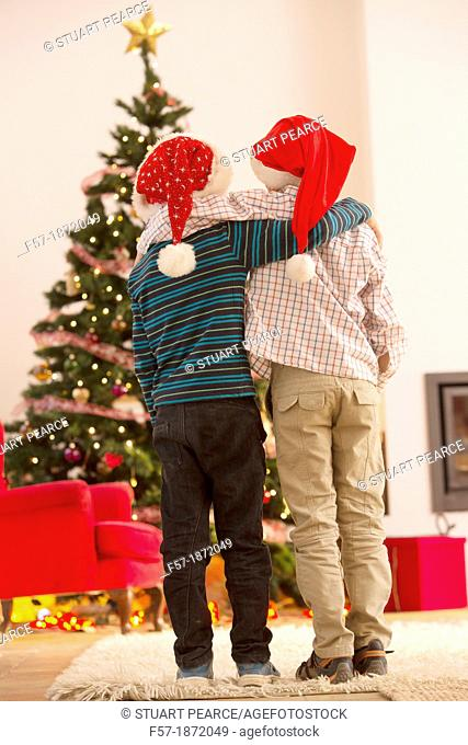 Two eight year old friends at Christmas time