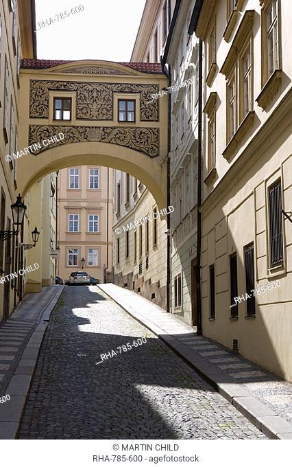 Empty street scene, decorative arch, Little Quarter, Old Town, Prague, Czech Republic, Europe