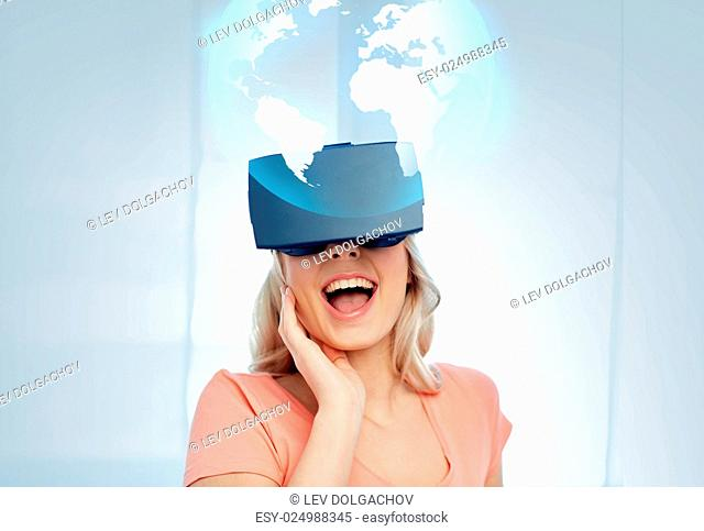 technology, augmented reality, cyberspace, entertainment and people concept - happy amazed young woman with virtual headset or 3d glasses looking at projection...