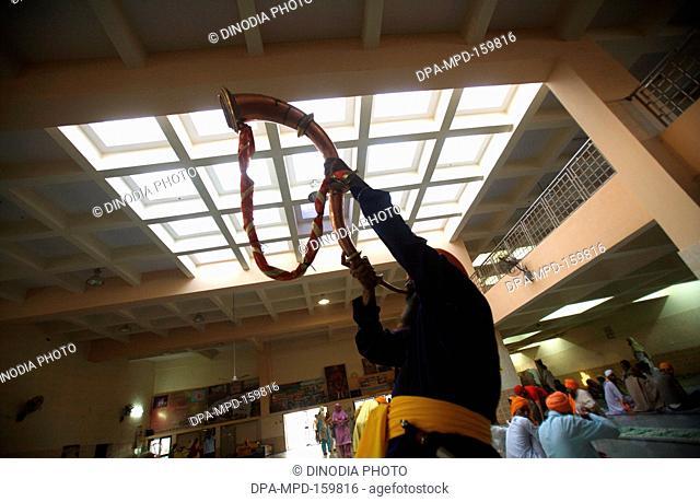 Nihang or Sikh warrior also karsevaks at Sachkhand Saheb Gurudwara blowing  trumpet ; 300th year celebrations of Consecration of perpetual Guru of Sikh...