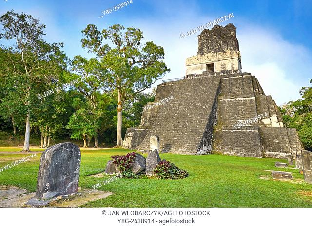 Temple of the Masks, El Peten, Grand Plaza, Tikal National Park, Yucatan, Guatemala