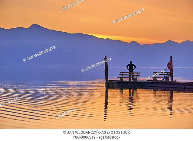 Shkodra Lake after sunset, Shkoder, Albania