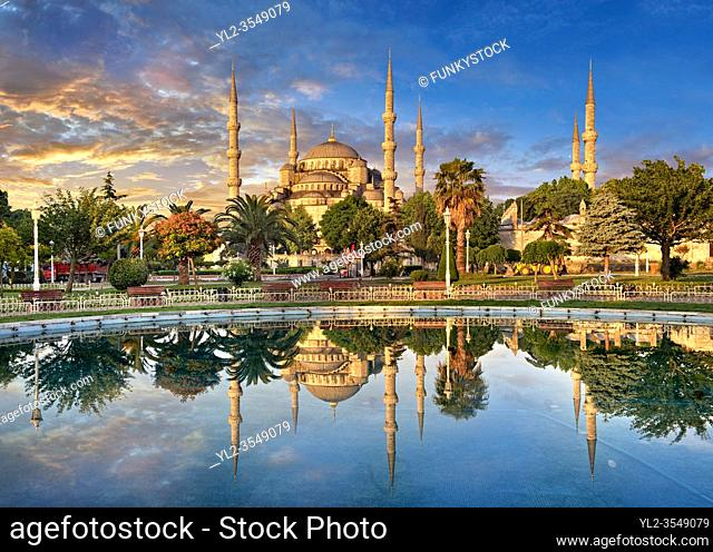 Sunset over the Sultan Ahmed Mosque (Sultanahmet Camii) or Blue Mosque, Istanbul, Turkey. Built from 1609 to 1616 during the rule of Ahmed I
