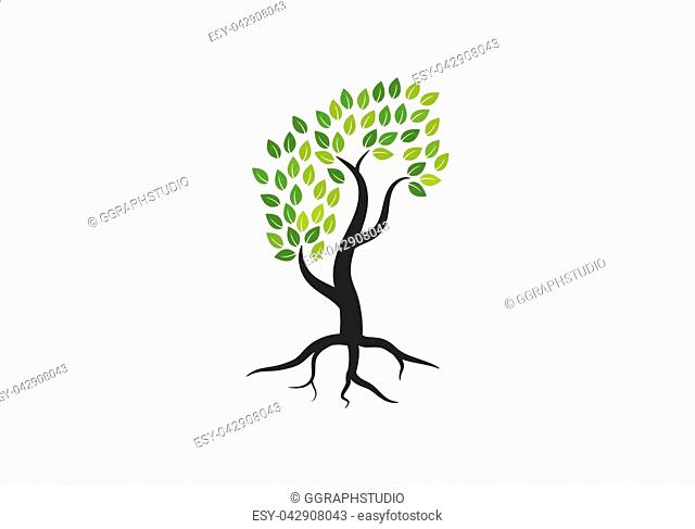 Tree icon concept of a stylized tree with letter