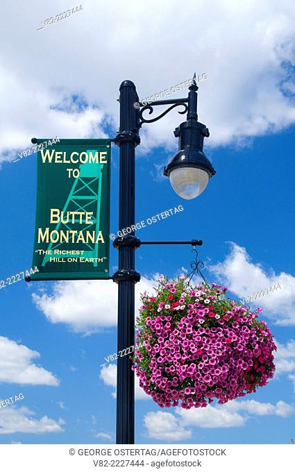 Lamppost with flowers, Butte, Montana