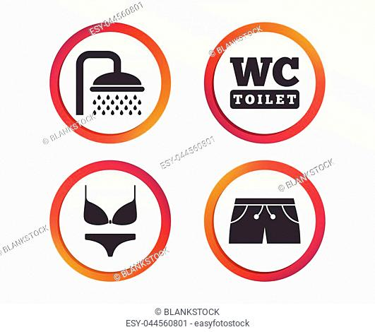 Swimming pool icons. Shower water drops and swimwear symbols. WC Toilet sign. Trunks and women underwear. Infographic design buttons. Circle templates