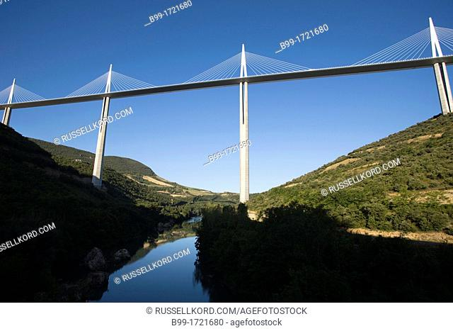 Viaduct De Millau Over River Tarn Massif Central Aveyron France