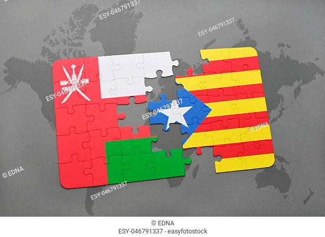puzzle with the national flag of oman and catalonia on a world map background. 3D illustration