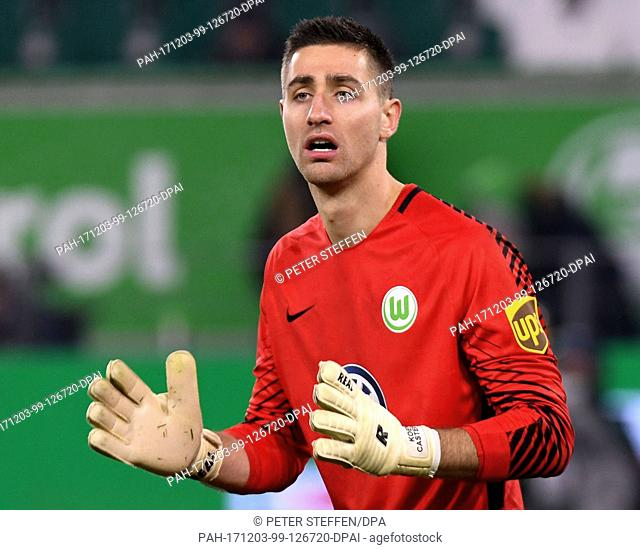 Wolfsburg's goalkeeper Koen Casteels stands in the goal during the German Bundesliga soccer match between VfL Wolfsburg and Bor
