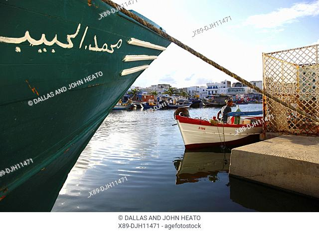 Africa, Tunisia, Bizerte, Old Port Canal, Fishing Boats in the Harbor, Fisherman