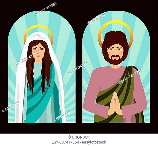 Holy Family design over brown background, vector illustration