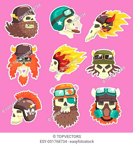 Colorful Scull Stickers With War And Biker Culture Attributes Set Of Vector Icons. Collection Of Creepy Dead Head Prints Cool Cartoon Illustrations