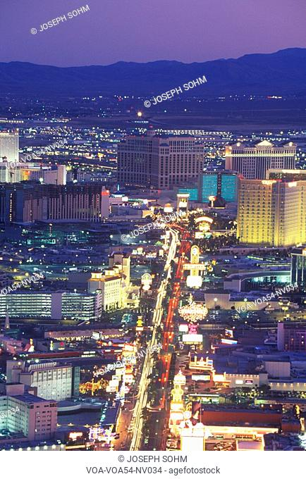View of the strip at night from the Stratosphere Tower, NV