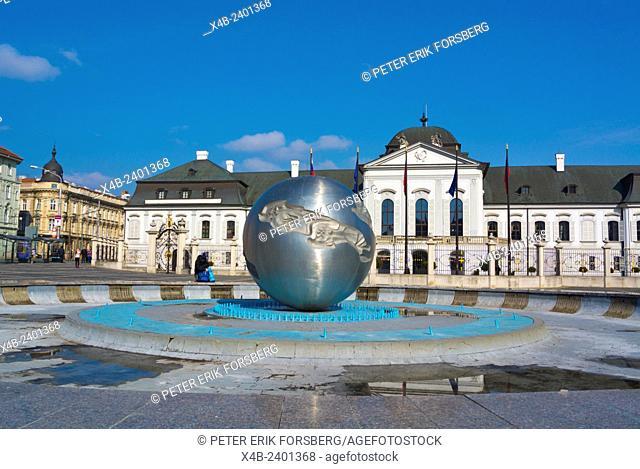 Earth fountain, in front of Grassalkovicov palac, Grassalkovich palace (1760), residence of the president, Bratislava, Slovakia