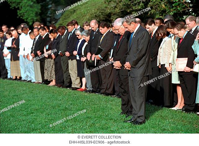South Lawn Moment of Silence. Led by President George W. Bush and VP Dick Cheney, the White House staff observes the one-week anniversary of the 9/11 Terrorist...