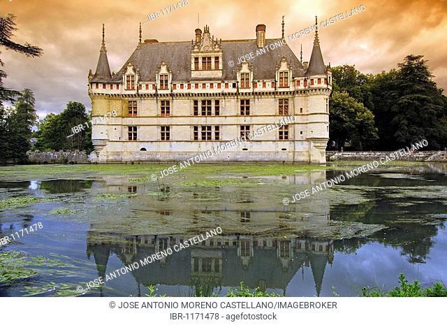 Azay-le-Rideau chateau, Castle of Azay-le-Rideau, built from 1518 to 1527 by Gilles Berthelot in Renaissance style, Loire valley, Indre et Loire province