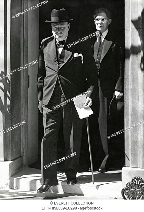 Prime Minister Winston Churchill leaving 10 Downing Street to speak to Parliament on June 18, 1940. He announced Britain has more than 1,250