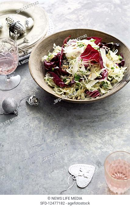 Overnight slaw with toasted almonds