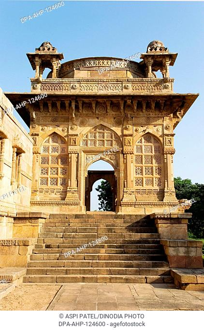 Champaner Pavagadh , entrance gate to Jami Masjid complex made of sand stone built in 15th century AD by the ruler Mahmud Begda , Archaeological park