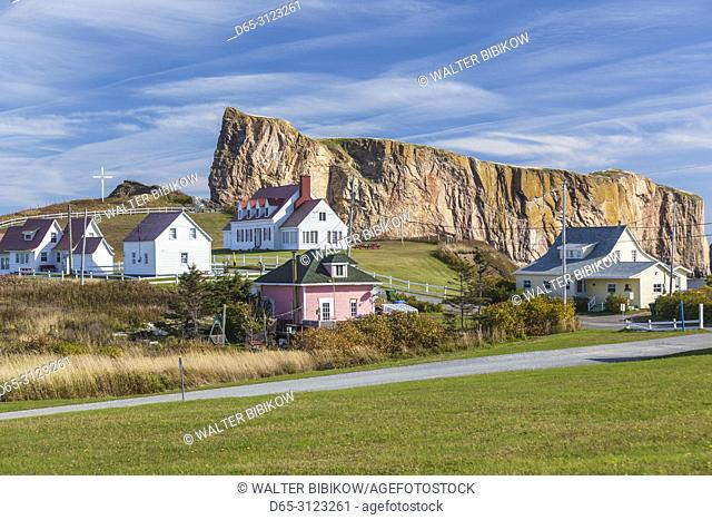 Canada, Quebec, Gaspe Peninsula, Perce, village buildings and Perce Rock, autumn