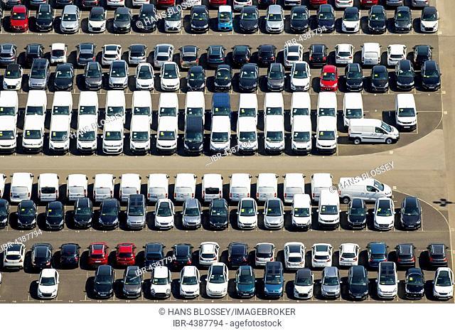 Aerial photograph, new car parking lot, Citroen, Peugeot, Ford cars, Wallenius Wilhelmsen Logistics, Zülpich, Rhineland, North Rhine-Westphalia, Germany