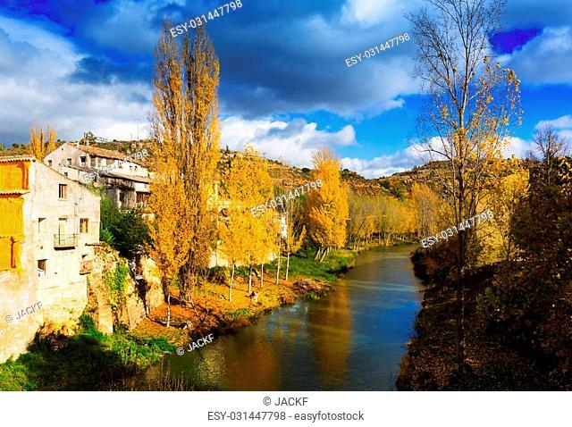 River Tajo at Trillo in autumn. Spain