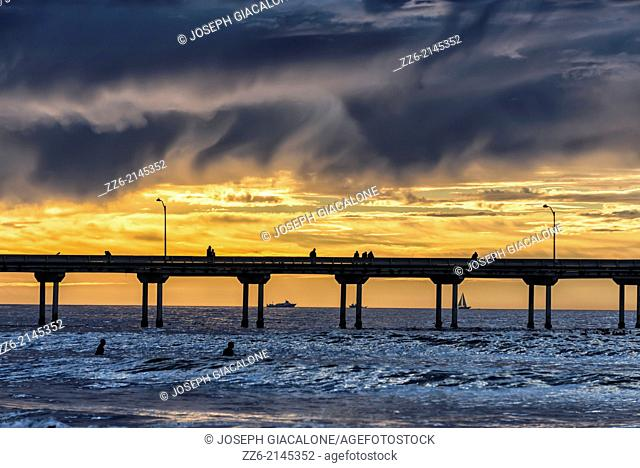 Ocean Beach Pier with a vibrant sunset. San Diego, California, United States