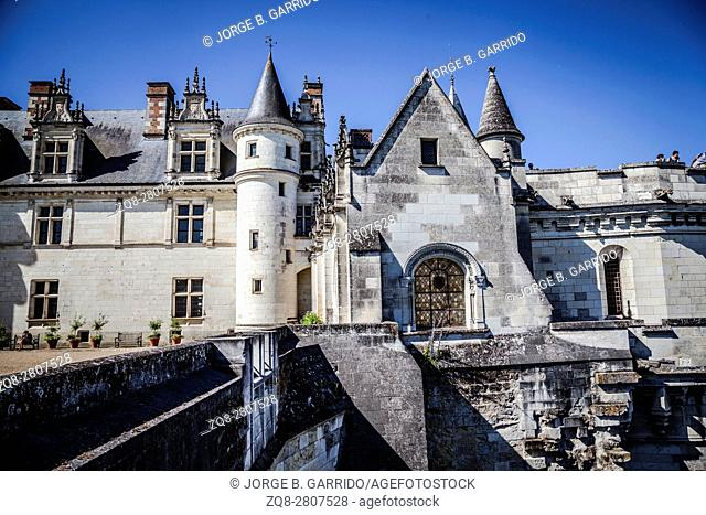 View of the Castle of Amboise over the town in the Loire valley