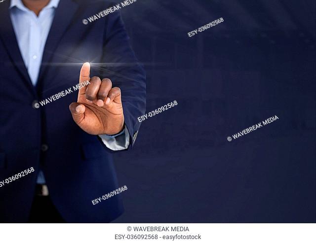 Businessman touching air light glow