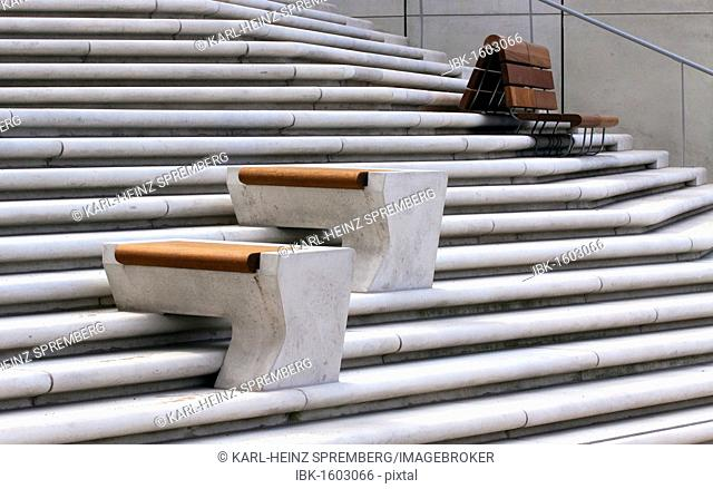 Wooden benches on concrete steps, Hamburg, Germany, Europe