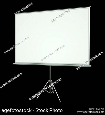 Projection screen over black background