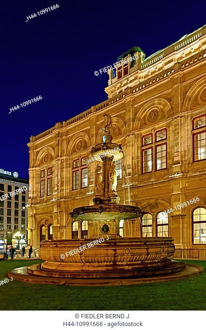 Viennese state opera, opera house, opera well, evening, mood