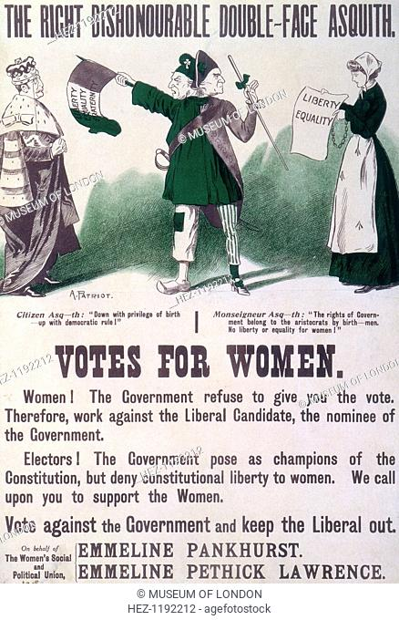 'The Right Dishonourable Double-face Asquith', c1910. Poster produced by the Women's Social and Political Union, urging support for the cause of votes for women