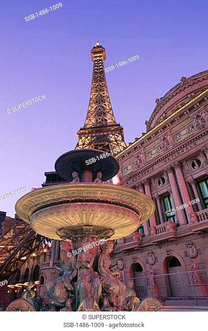 Fountain in front of a hotel, Paris Las Vegas, Replica Eiffel Tower, Las Vegas, Nevada, USA