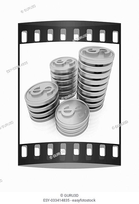 Gold dollar coins on a white background. The film strip