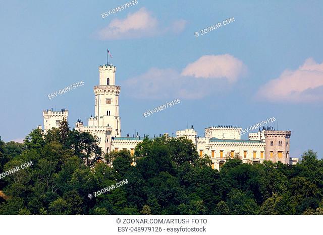 Beautiful white renaissance castle castle Hluboka nad Vltavou in the Czech Republic