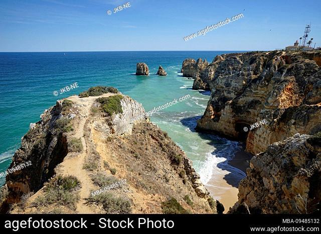 Europe, Portugal, Algarve region, Lagos, Algarve coast, Atlantic Ocean, Ponta da Piedade, rocky coast