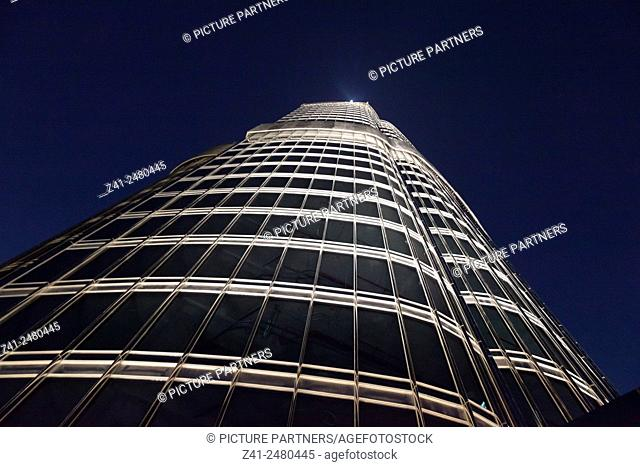 Dubai Burj Khalifa seen from below at nighttime