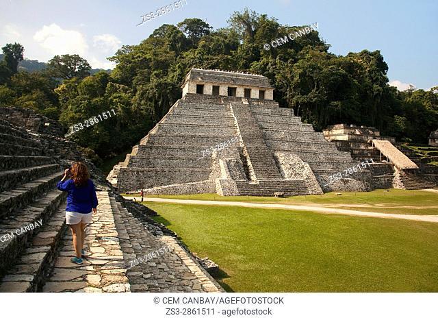View to the Temple of Inscriptiones-Templo De Las Inscripciones in Palenque Archaeological Site, Palenque, Chiapas State, Mexico, Central America