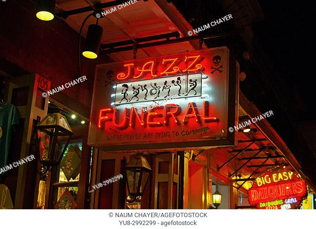 Advertisement of funeral with Jazz, New Orleans, Louisiana, USA, North America