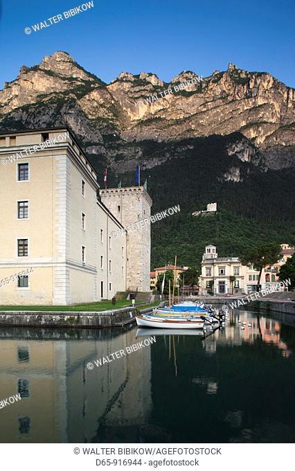 Italy, Trentino-Alto Adige, Lake District, Lake Garda, Riva del Garda, La Rocca castle and museum, dawn