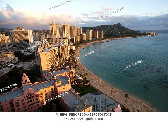 Panoramic and aerial view of Waikiki Beach. O'ahu. Hawaii. Waikiki is most famous for its beaches and every room is just two or three blocks away from the sea