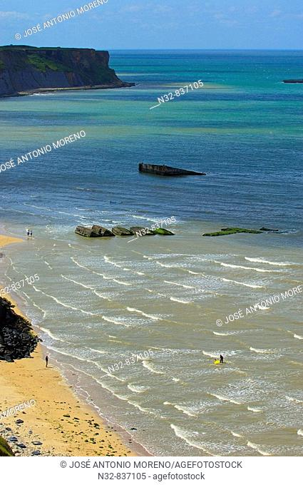 Arromanches beach( D. Day landing beach at Second World War). Arromanches-Les-Bains. Basse-Normandie. Normandy. France