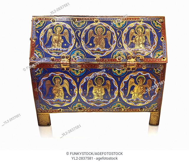 Medieval enamelled box depicting angels, circa12th century from Limoges, enamel on gold. AD. The Louvre Museum, Paris